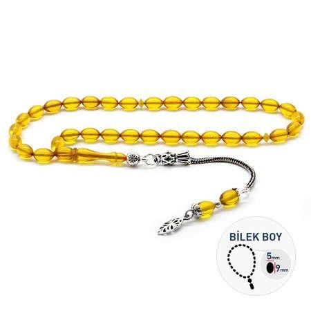 925 Ayar Gümüş Püsküllü Bilek Boy Sarı Sıkma Kehribar Tesbih - Thumbnail