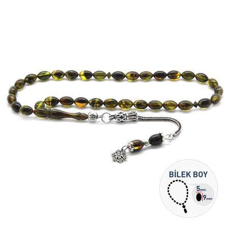 925 Ayar Gümüş Püsküllü Bilek Boy Sarı-Siyah Sıkma Kehribar Tesbih - Thumbnail