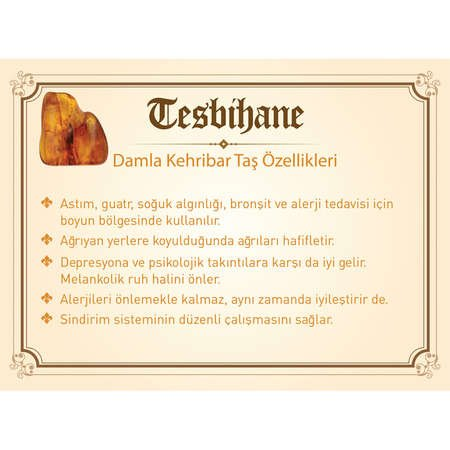 925 Ayar Gümüş Ayyıldız Püsküllü Küre Kesim Kahverengi Damla Kehribar Tesbih - Thumbnail