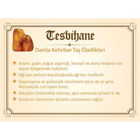 925 Ayar Gümüş Tuğra Püsküllü Küre Kesim Fosilli Sarı Damla Kehribar Tesbih - Thumbnail