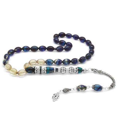 925 Ayar Gümüş Püsküllü Gümüş Çift Şerefeli Nakkaş İmameli Süzme Mavi-Beyaz Ateş Kehribar Tesbih - Thumbnail
