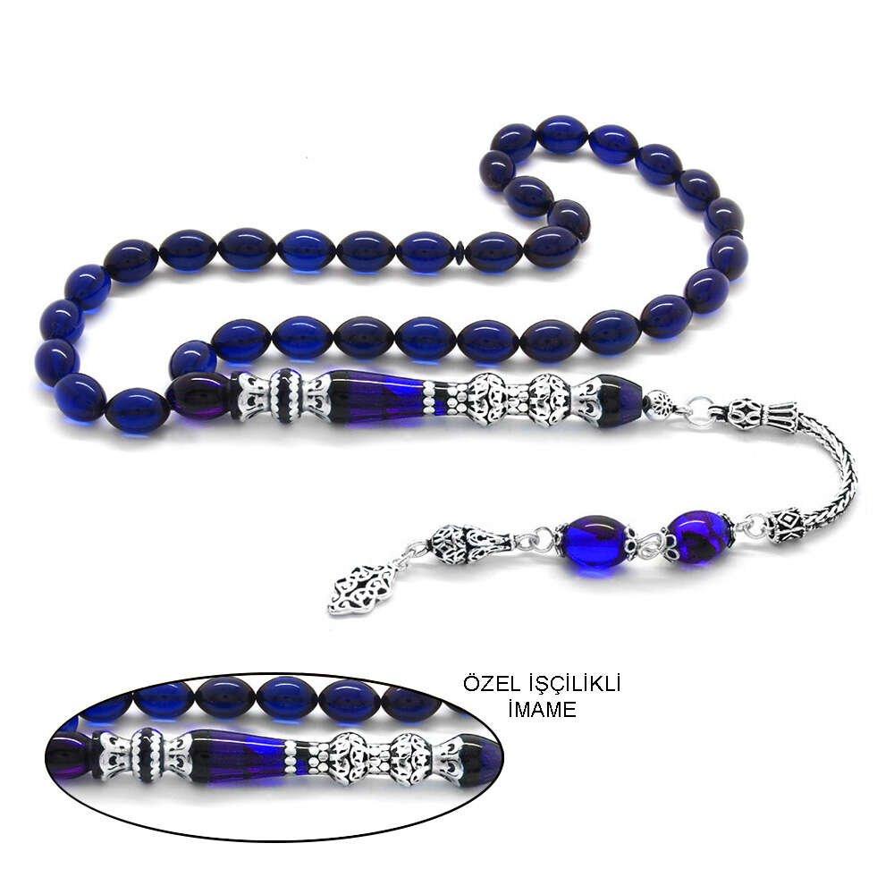 925 Ayar Gümüş Püsküllü Gümüş Çift Şerefeli Nakkaş İmameli Süzme Mavi-Siyah Sıkma Kehribar Tesbih