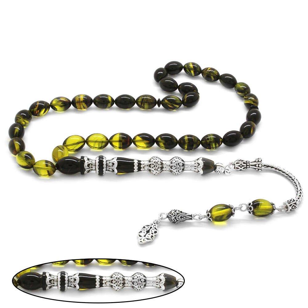 925 Ayar Gümüş Püsküllü Gümüş Çift Şerefeli Nakkaş İmameli Süzme Sarı-Siyah Ateş Kehribar Tesbih