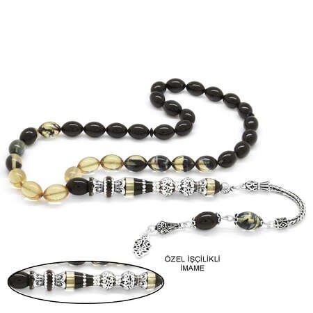 925 Ayar Gümüş Püsküllü Gümüş Çift Şerefeli Nakkaş İmameli Süzme Siyah-Beyaz Ateş Kehribar Tesbih - Thumbnail