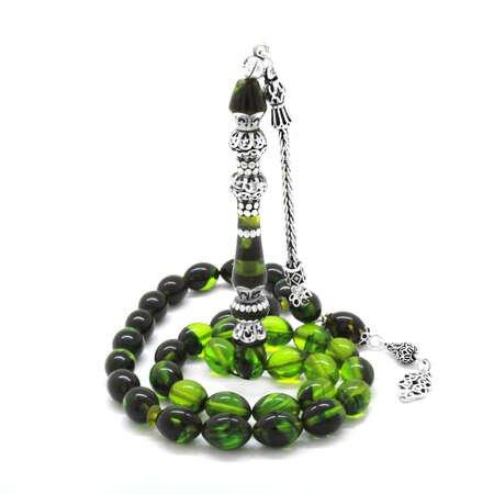 925 Ayar Gümüş Püsküllü Gümüş Çift Şerefeli Nakkaş İmameli Süzme Yeşil-Siyah Ateş Kehribar Tesbih - Thumbnail