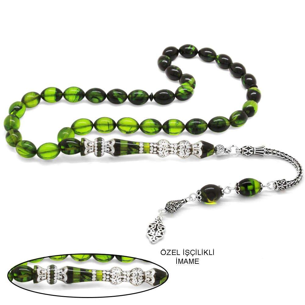 925 Ayar Gümüş Püsküllü Gümüş Çift Şerefeli Nakkaş İmameli Süzme Yeşil-Siyah Ateş Kehribar Tesbih