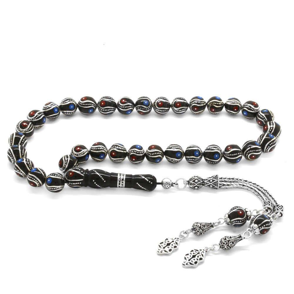 925 Ayar Gümüş Püsküllü Gümüş-Mercan-Firuze İşlemeli Erzurum Oltu Taşı Tesbih