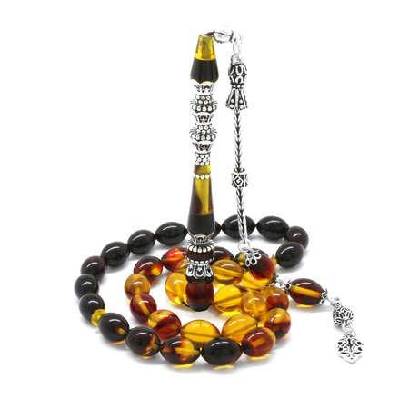 925 Ayar Gümüş Püsküllü Gümüş Minare Nakkaş İmameli Süzme Bala-Siyah Ateş Kehribar Tesbih - Thumbnail