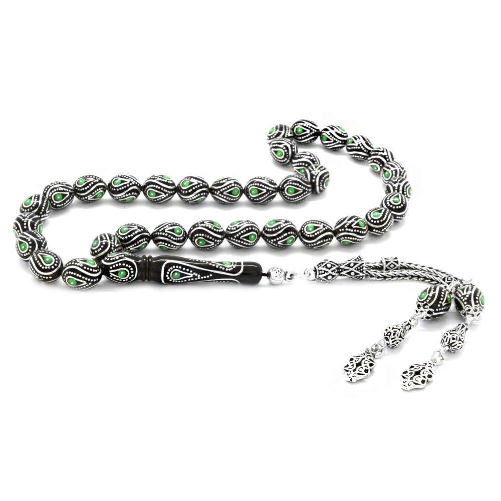 925 Ayar Gümüş Püsküllü Gümüş-Mine İşlemeli Arpa Kesim Erzurum Oltu Taşı Tesbih