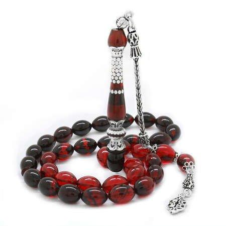 925 Ayar Gümüş Püsküllü Gümüş Nakkaş İmameli Süzme Kırmızı-Siyah Ateş Kehribar Tesbih - Thumbnail