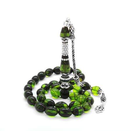 925 Ayar Gümüş Püsküllü Gümüş Nakkaş İmameli Süzme Yeşil-Siyah Ateş Kehribar Tesbih - Thumbnail