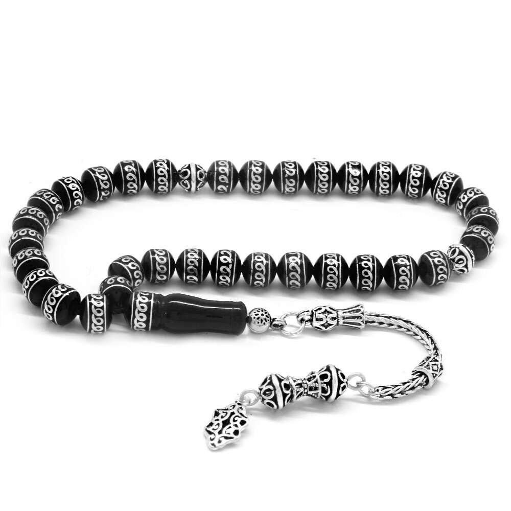 925 Ayar Gümüş Püsküllü Gümüş Ötür İşlemeli Küre Kesim Erzurum Oltu Taşı Tesbih