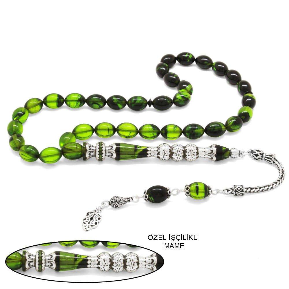 925 Ayar Gümüş Püsküllü Gümüş Üç Şerefeli Nakkaş İmameli Süzme Yeşil-Siyah Ateş Kehribar Tesbih