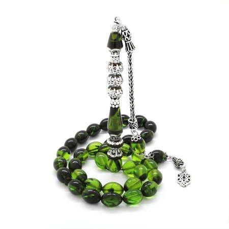 925 Ayar Gümüş Püsküllü Gümüş Üç Şerefeli Nakkaş İmameli Süzme Yeşil-Siyah Ateş Kehribar Tesbih - Thumbnail