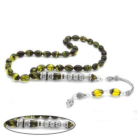 925 Ayar Gümüş Püsküllü Gümüş Üç Şerefeli Nakkaş İmameli Süzme Sarı-Siyah Ateş Kehribar Tesbih - Thumbnail