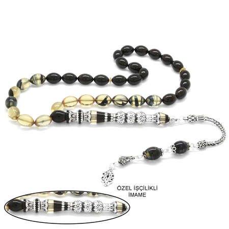 925 Ayar Gümüş Püsküllü Gümüş Üç Şerefeli Nakkaş İmameli Süzme Siyah-Beyaz Ateş Kehribar Tesbih - Thumbnail