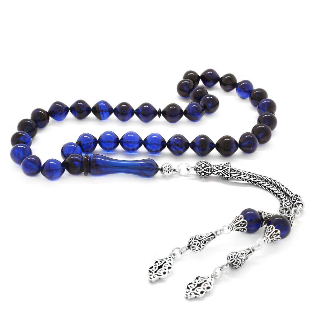 925 Ayar Gümüş Püsküllü İstanbul Kesim Süzme Mavi-Siyah Sıkma Kehribar Tesbih
