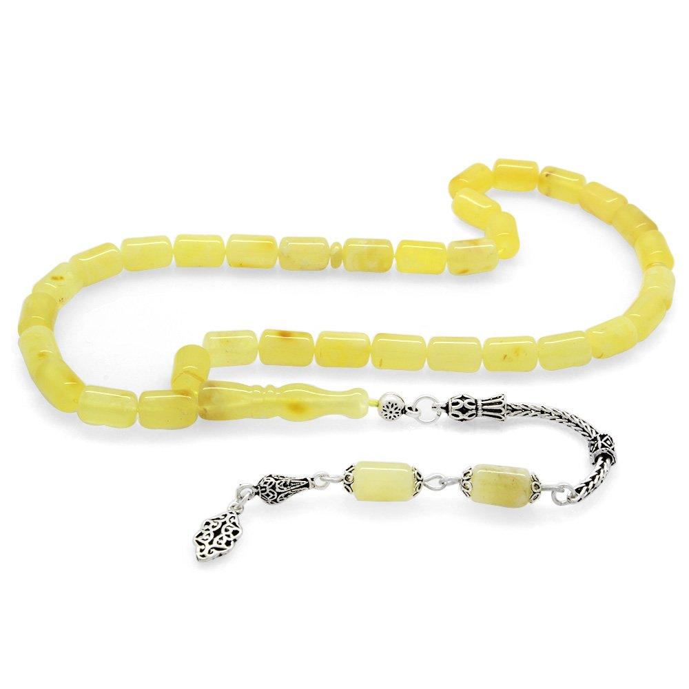 925 Ayar Gümüş Püsküllü Kapsül Kesim Sarı-Beyaz Damarlı Ukrayna Damla Kehribar Tesbih