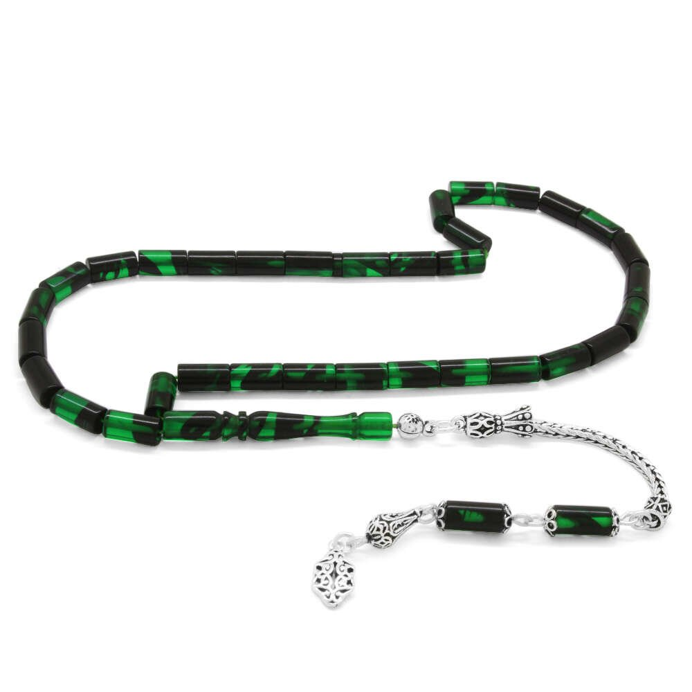 925 Ayar Gümüş Püsküllü Kesme Kesim Yeşil-Siyah Ateş Kehribar Tesbih