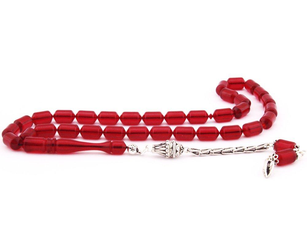 925 Ayar Gümüş Püsküllü Köşeli Kapsül Kesim Sıkma Kehribar Tesbih (Model-2)