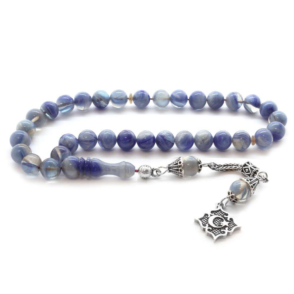 925 Ayar Gümüş Püsküllü Küre Kesim Mavi Hareli Sıkma Kehribar Tesbih