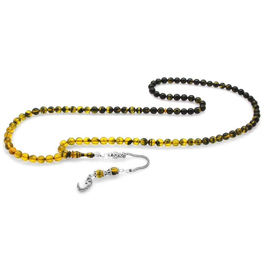 925 Ayar Gümüş Püsküllü Küre Kesim Süzme Sarı-Siyah Ateş Kehribar 99'luk Tesbih