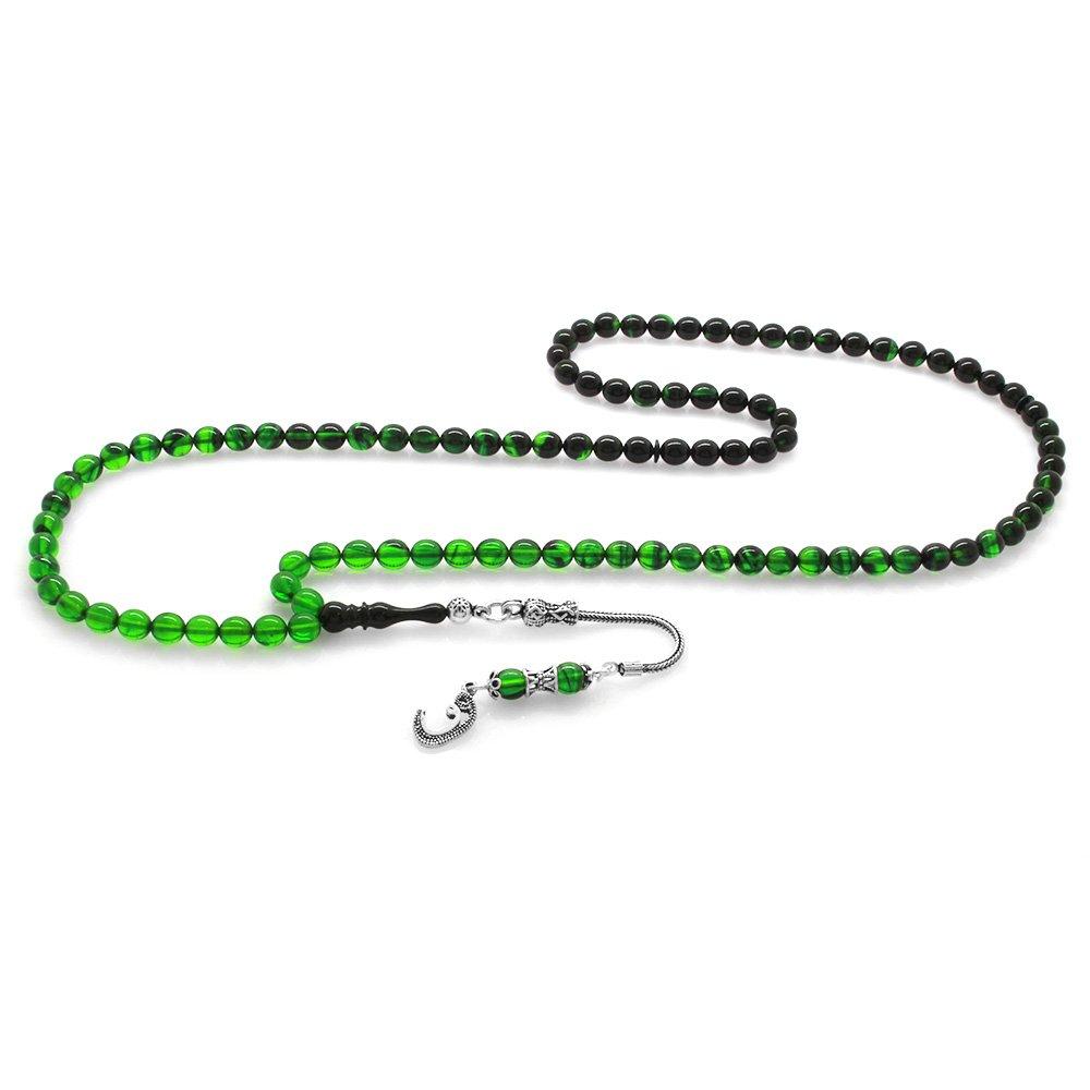 925 Ayar Gümüş Püsküllü Küre Kesim Süzme Yeşil-Siyah Ateş Kehribar 99'luk Tesbih