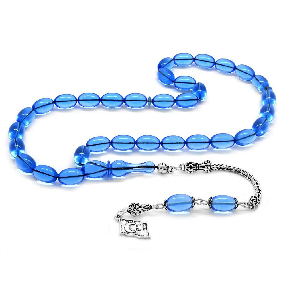 925 Ayar Gümüş Püsküllü Özel Kesim Fiberglas Uçak Camı Gök Mavisi Tesbih