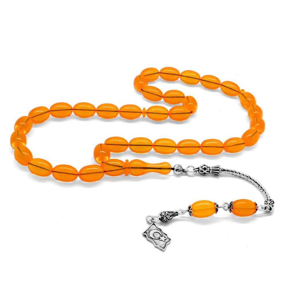 925 Ayar Gümüş Püsküllü Özel Kesim Fiberglas Uçak Camı Mango Sarısı Tesbih