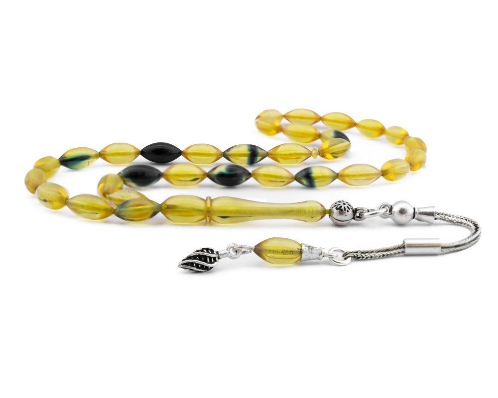 925 Ayar Gümüş Püsküllü Sarı Lacivert Hareli Sıkma Kehribar Tesbih