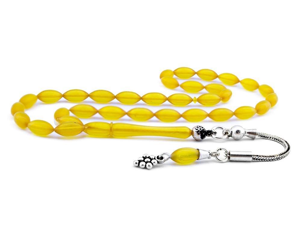 925 Ayar Gümüş Püsküllü Sarı Sıkma Kehribar Tesbih