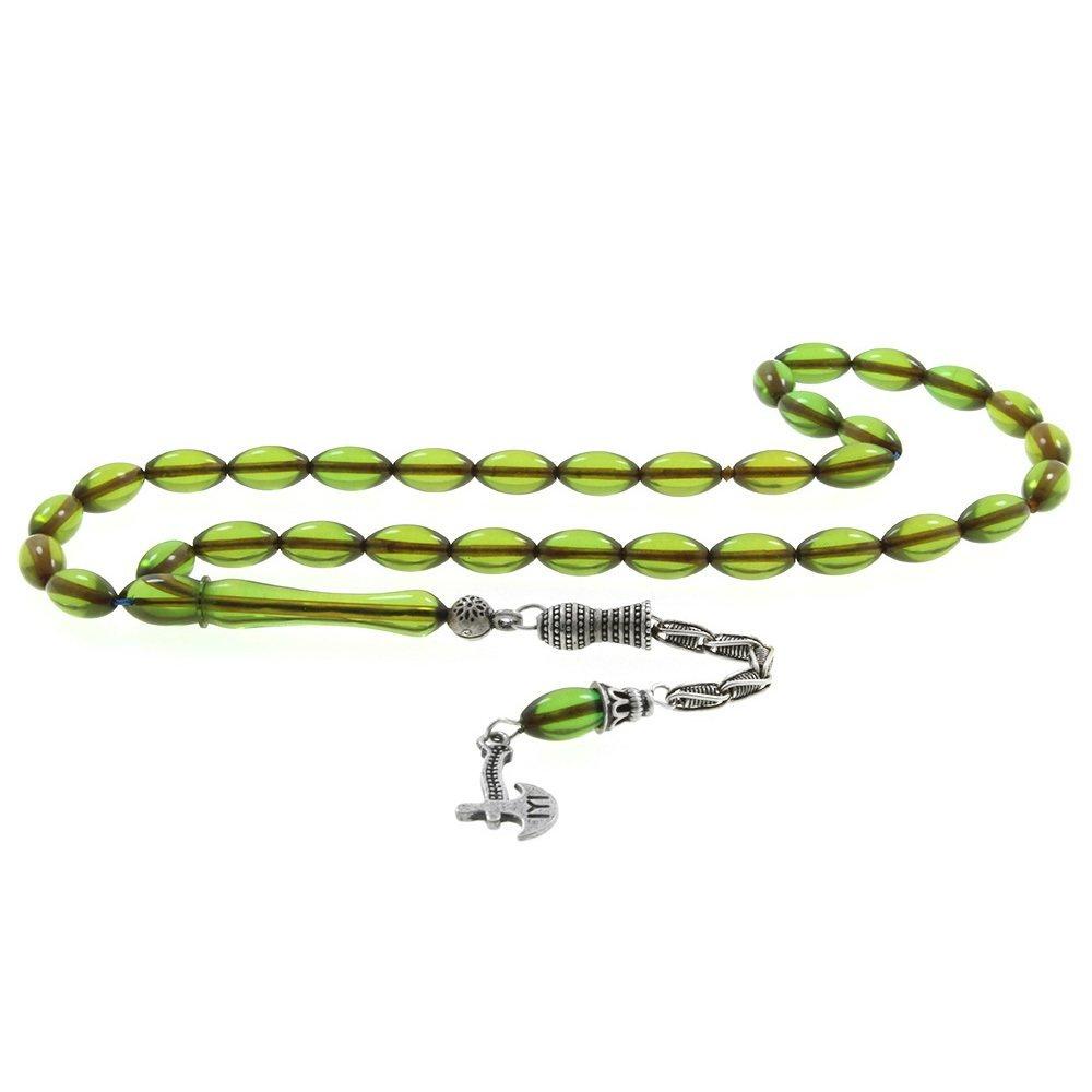 925 Ayar Gümüş Kayı Püsküllü Arpa Kesim Yeşil Sıkma Kehribar Tesbih