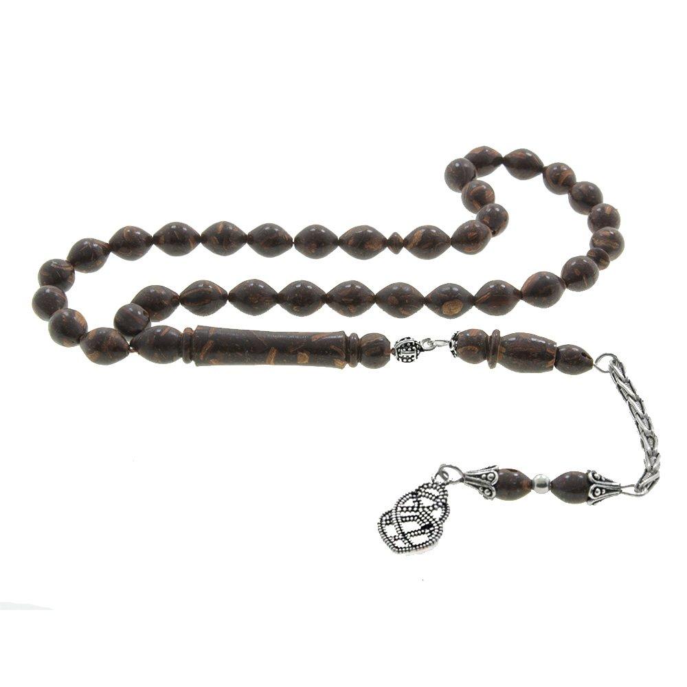 925 Ayar Gümüş Püsküllü Arpa Kesim Tarçın Ağacı Tesbih