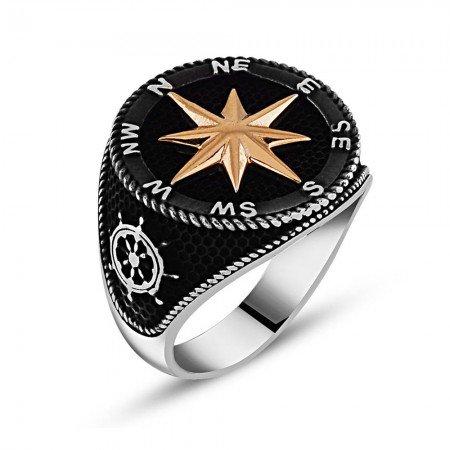 Siyah Renk 925 Ayar Gümüş Pusula Yüzük - Thumbnail