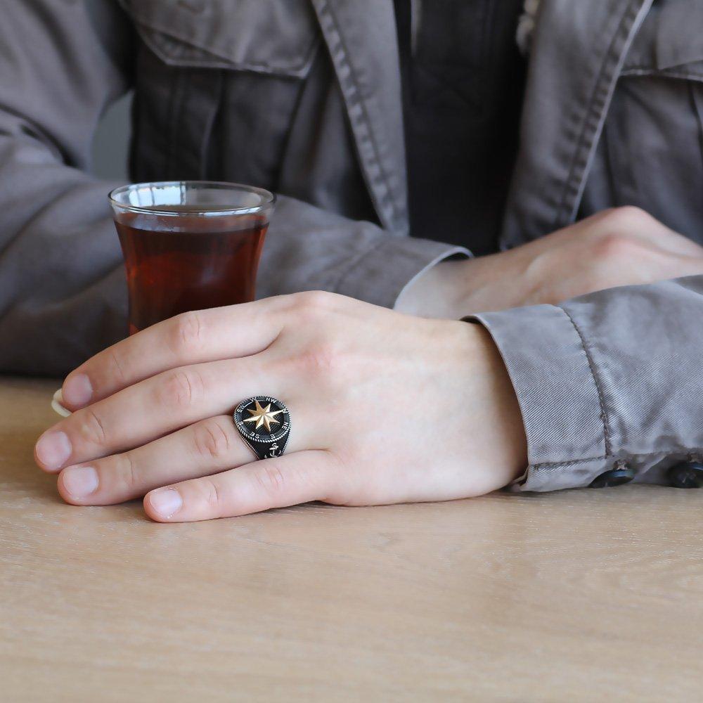 Siyah Renk 925 Ayar Gümüş Pusula Yüzük