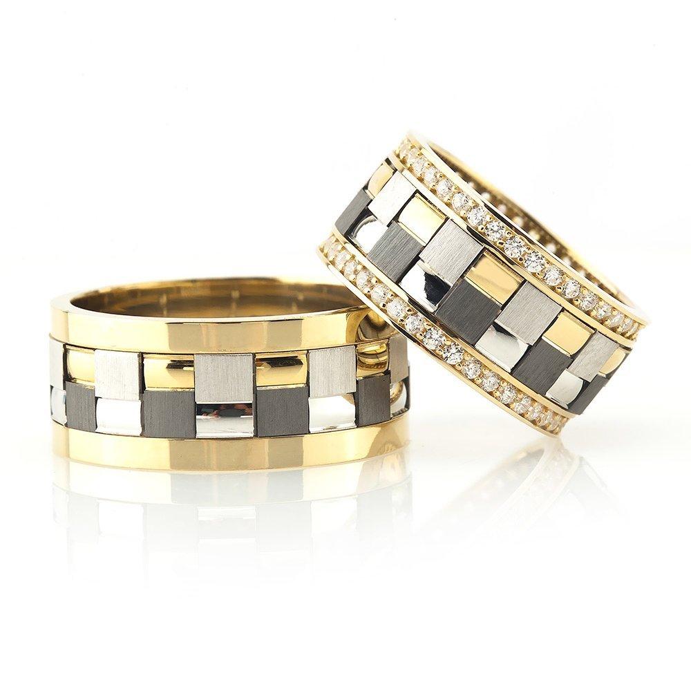 Modern Kare Tasarım Gri-Gold Renk 925 Ayar Gümüş Çift Alyans