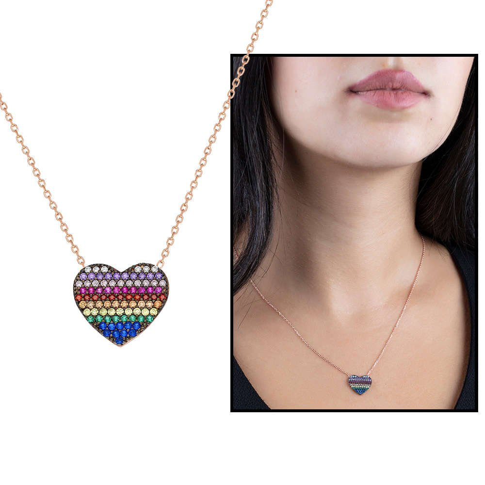 Renkli Zirkon Taşlı Kalp Tasarım 925 Ayar Gümüş Bayan Kolye