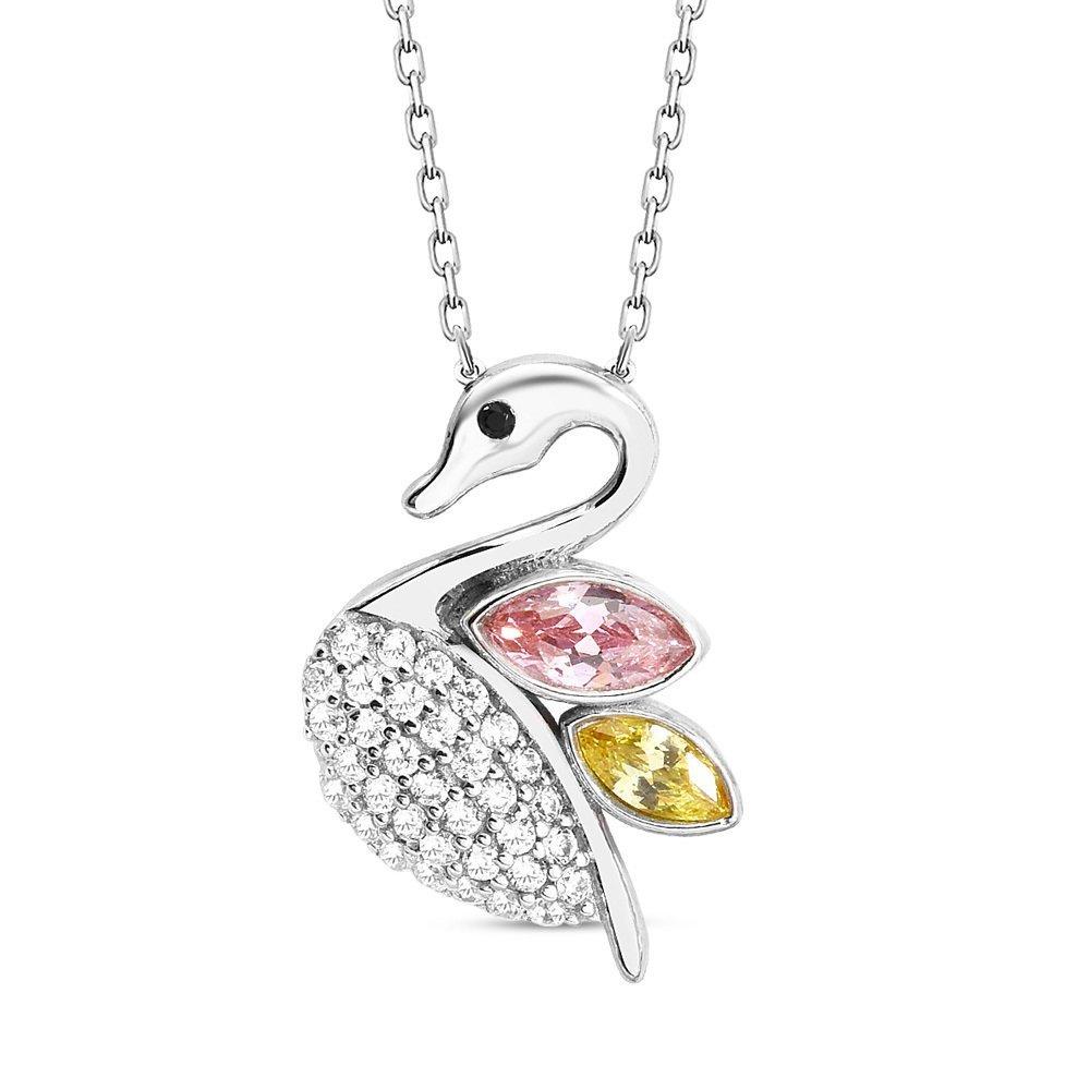 Renkli Zirkon Taşlı Kuğu Tasarım 925 Ayar Gümüş Bayan Kolye