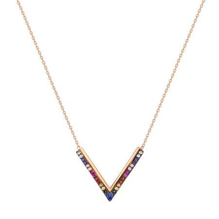 Renkli Zirkon Taşlı V Tasarım 925 Ayar Gümüş Bayan Kolye - Thumbnail