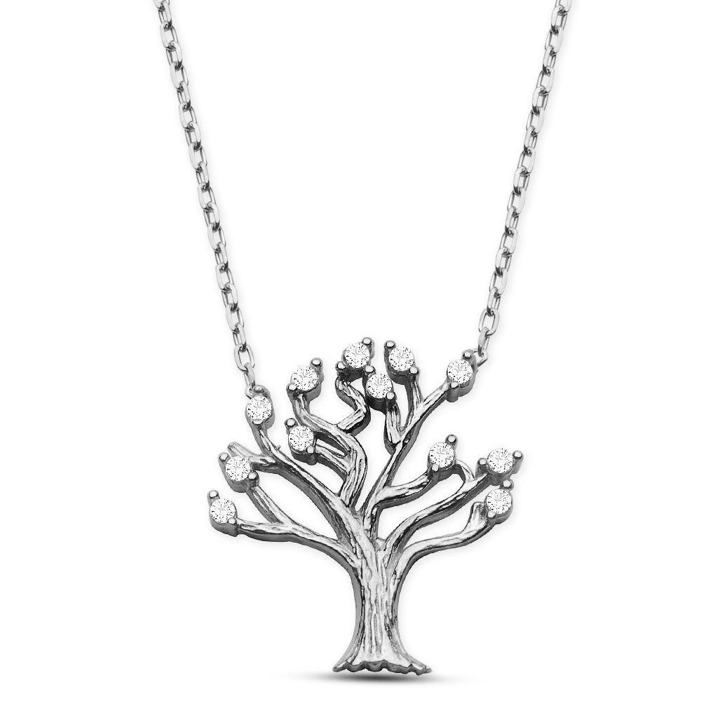 925 Ayar Gümüş Rodyum Hayat Ağacı Kolye