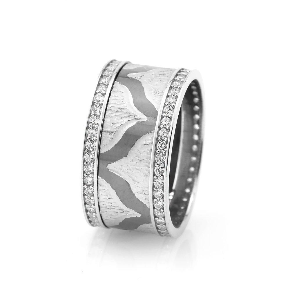 Modern ve Şık Tasarım Zirkon Taşlı 925 Ayar Gümüş Bayan Alyans