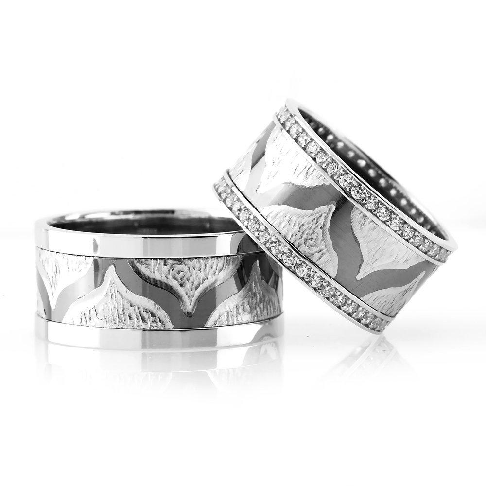 Modern ve Şık Tasarım 925 Ayar Gümüş Çift Alyans