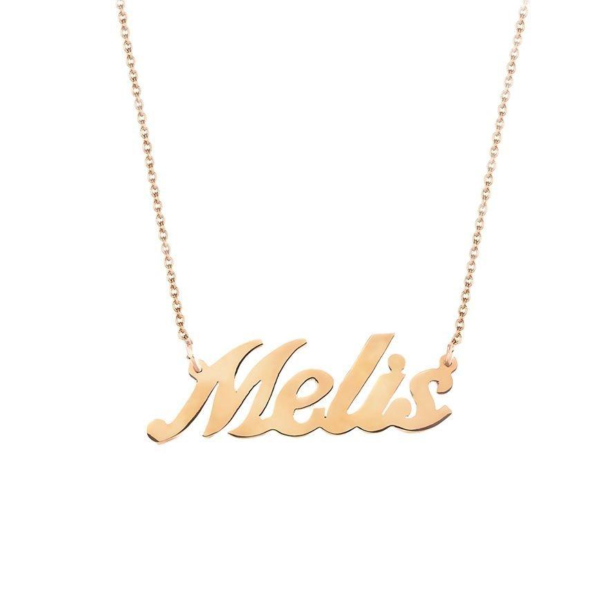 Gold Renk Kişiye Özel İsim Yazılı 925 Ayar Gümüş Bayan Kolye