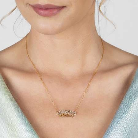 925 Ayar Gümüş Rose Kaplı Aşkım Yazılı Sonsuzluk Kalp Kolye - Thumbnail