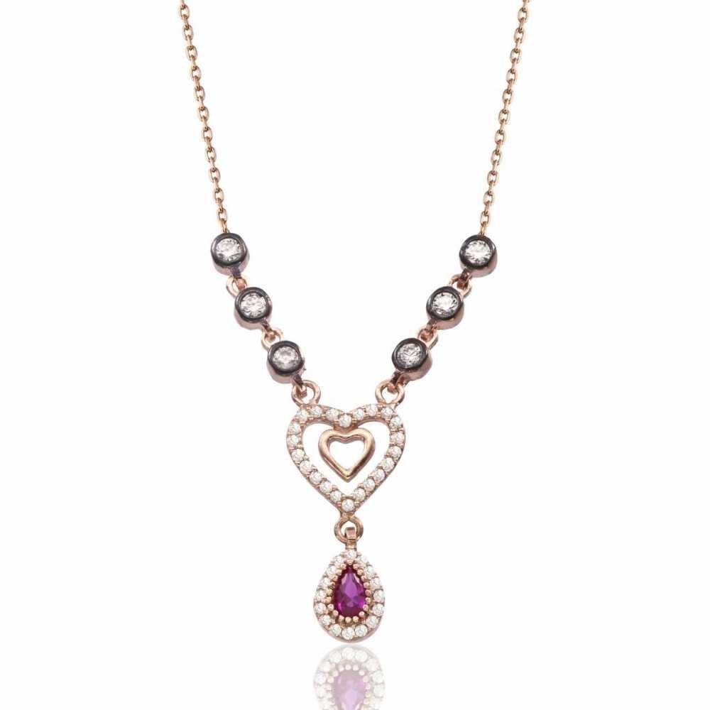 925 Ayar Gümüş Rose Kaplı Kalp İçinde Kalp Kolye