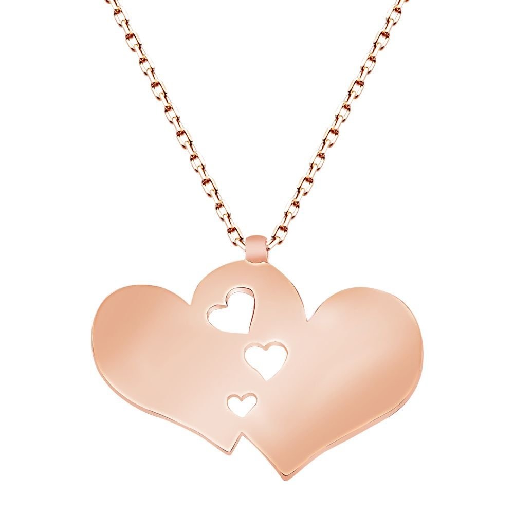 925 Ayar Gümüş Roze Kaplamalı Çift Kalp Tasarım Kolye