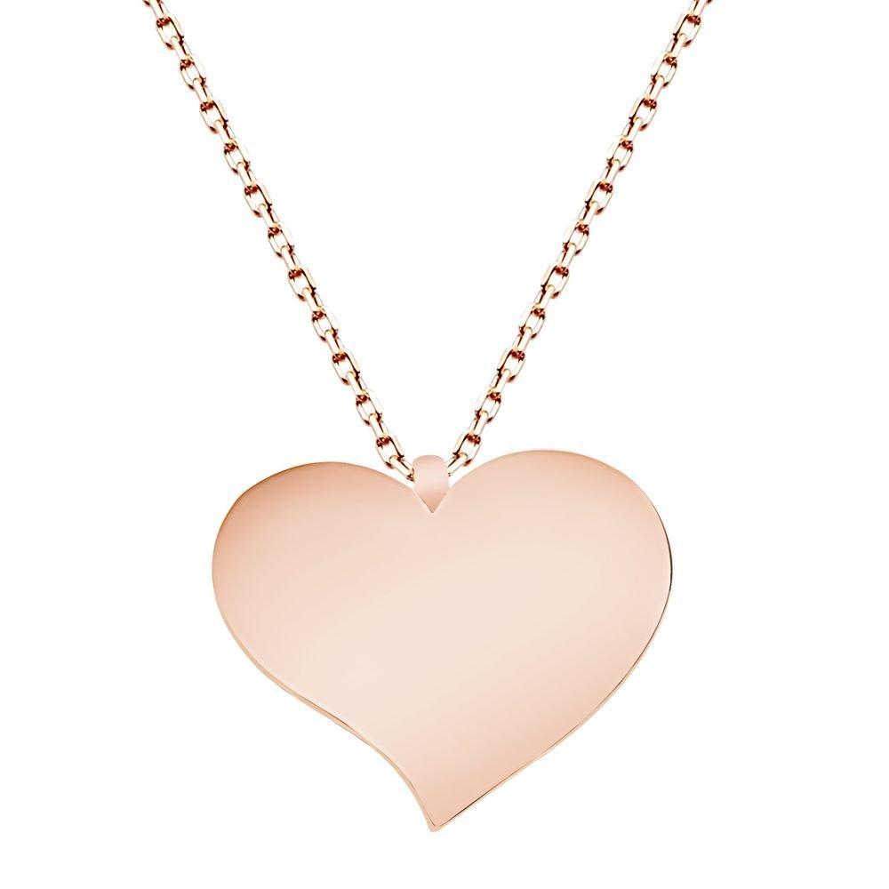 925 Ayar Gümüş Roze Kaplamalı Kalp Tasarım Kolye