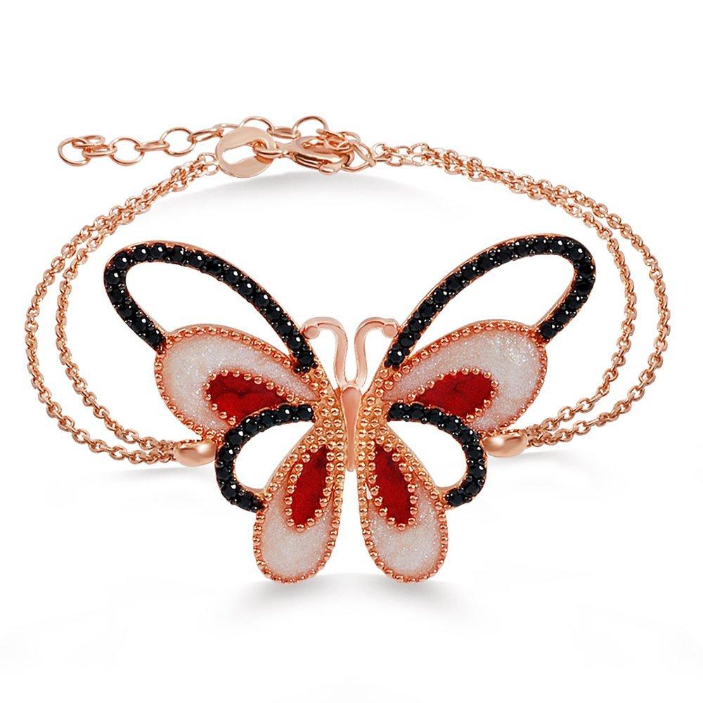 925 Ayar Gümüş Roze Kaplamalı Kelebek Bileklik