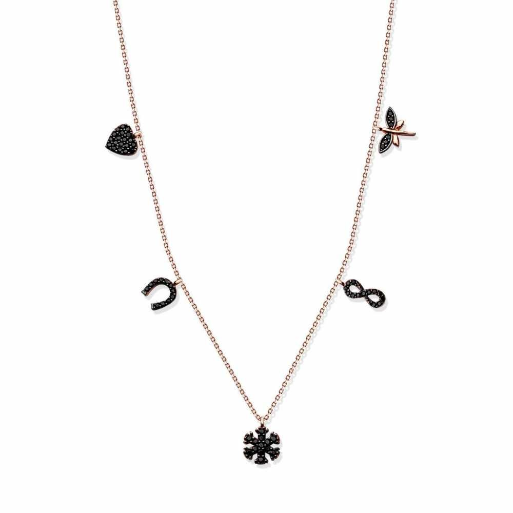 925 Ayar Gümüş Roze Kaplamalı Siyah Zirkon Taşlı Şans Kolye (SDR0013)