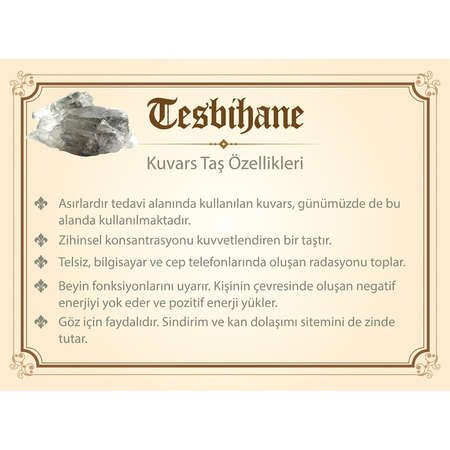925 Ayar Gümüş Tuğra Püsküllü Fasetalı Küre Kesim Kuvars Tesbih - Thumbnail